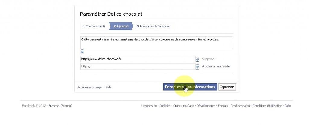 paramétrer une page fan facebook