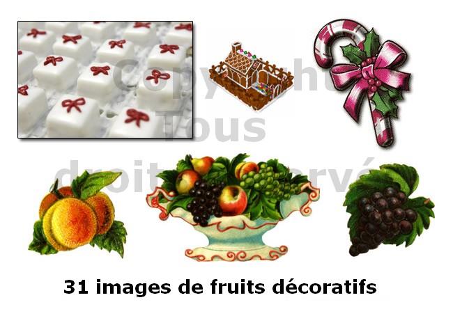 fruits et sucreries de noël